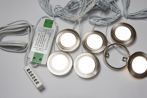 6 x Circum 24V led Surface Mounted/Recessed Light Steel - Natural White & Driver