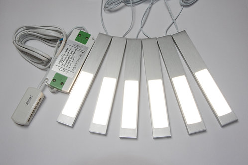 6 x Digitum 24V Under Cabinet / Over Cabinet Light Alu - Natural White & Driver