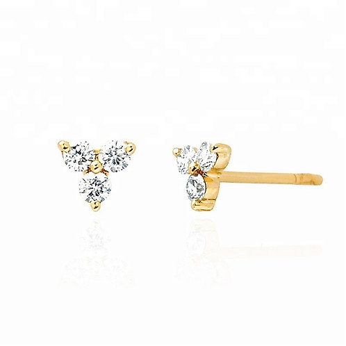 Gold triple stone studs - medium
