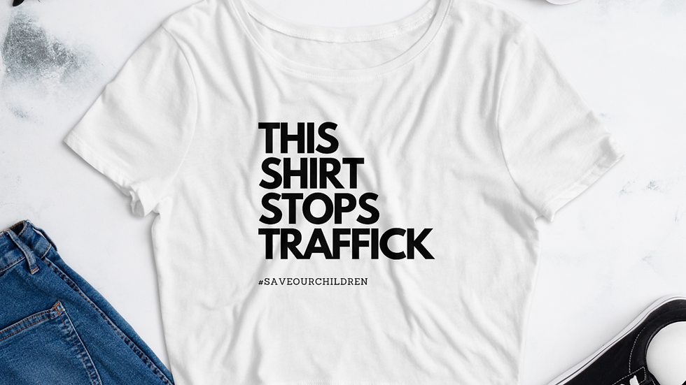This Shirt Stops Traffick Crop Top (Black Font)