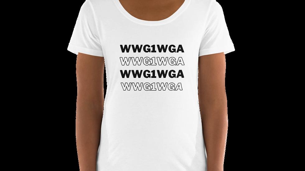 WWG1WGA Scoop Neck Tee (Black Font)