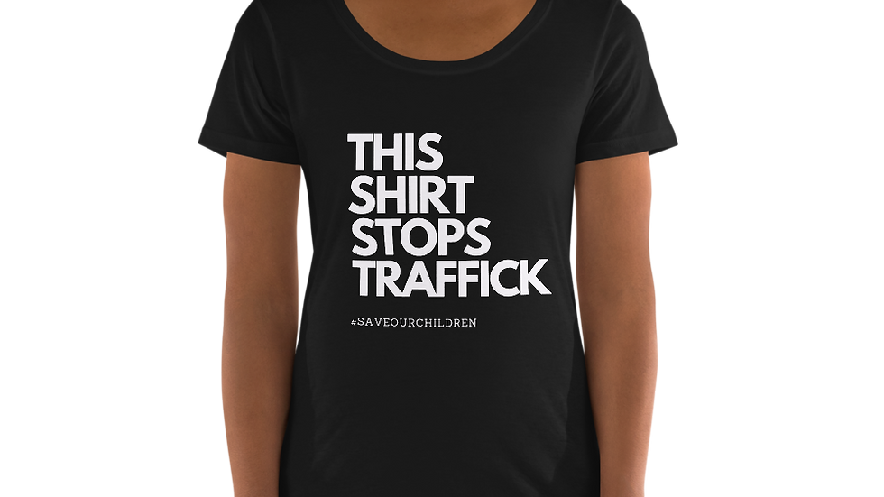 This Shirt Stops Traffick Scoop Neck Tee (White Font)