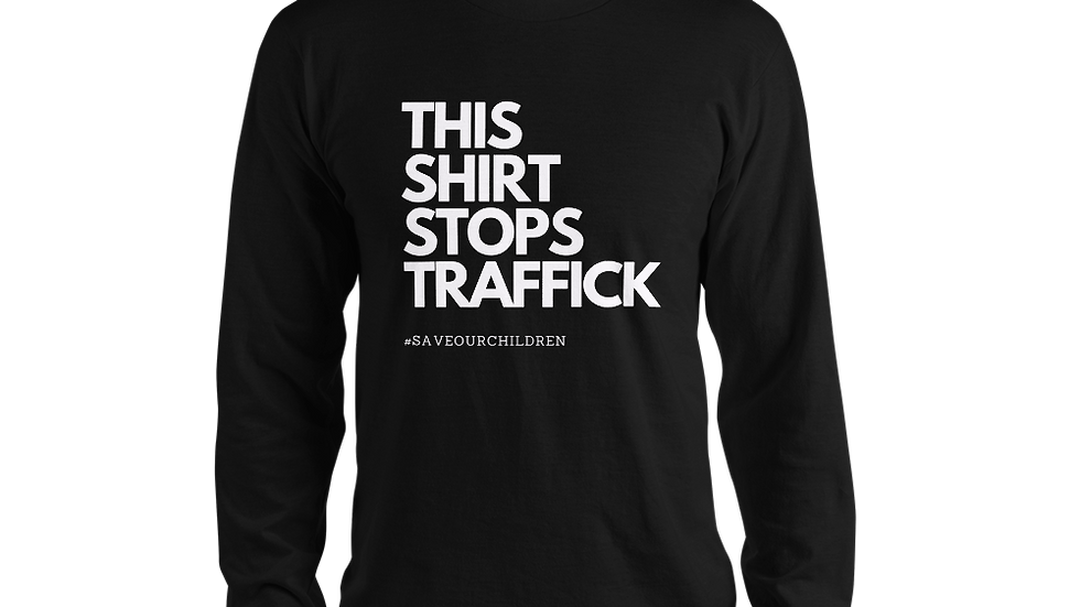 This Shirt Stops Traffick Sleeve Tee (White Font)