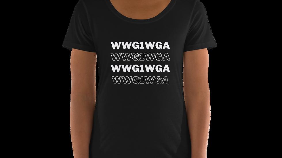 WWG1WGA Scoop Neck Tee (White Font)