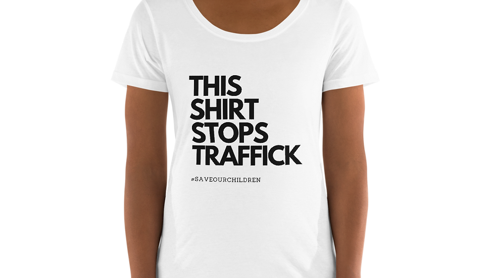 This Shirt Stops Traffick Scoop Neck Tee (Black Font)