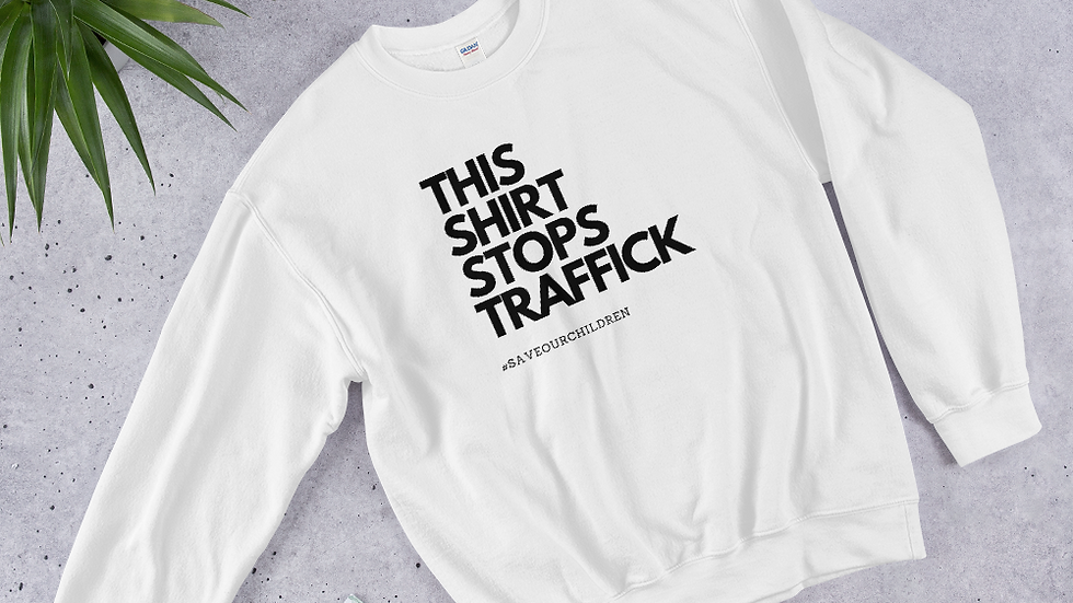 This Shirt Stops Traffick Unisex Sweatshirt in White