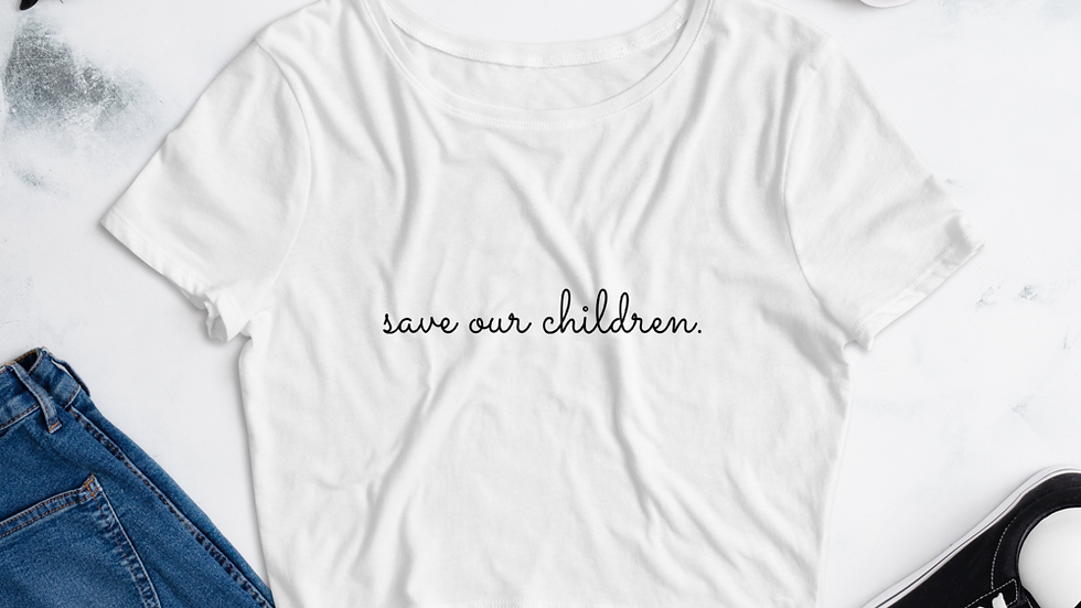 Save Our Children Crop Top (Black Font)