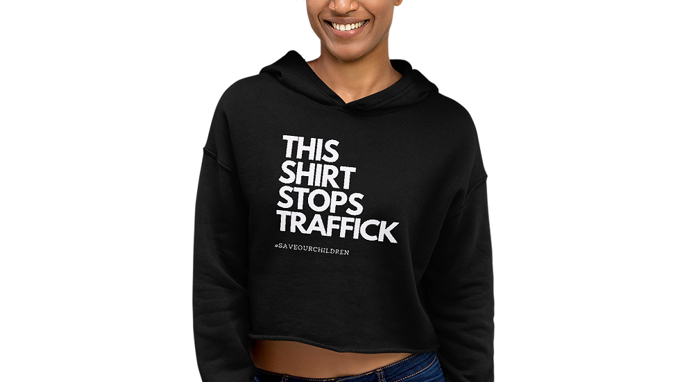 This Shirt Stops Traffick Crop Hoodie