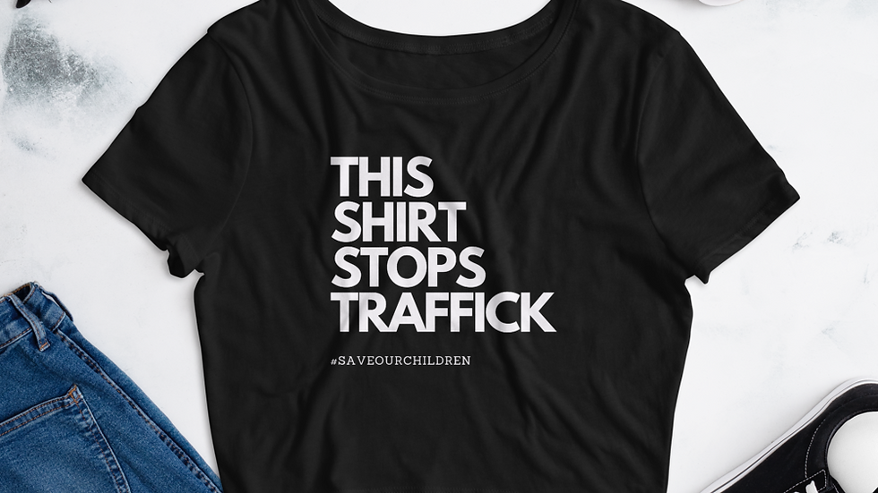 This Shirt Stops Traffick Crop Top (White Font)