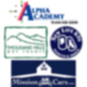 Alpha Academy, Mission Cars, New Life K9s, Thousand Hills Pet Resort Logos