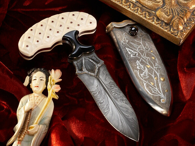 Push Dagger with Carved Ivory