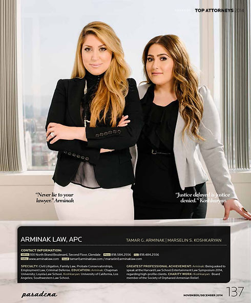 Arminak as Top Attorneys 2014 Never lie to your lawyer