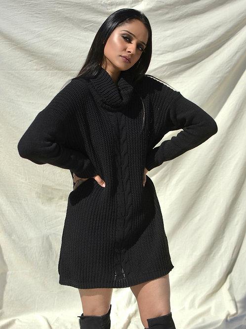 JET BLACK TURTLENECK DRESS