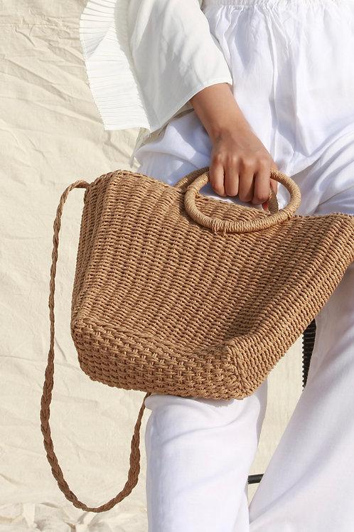 BEIGE CANE BEACH BAG