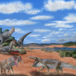 """26 - Caio Cesar Negri da Penha """"Disputa na planícies alagadas"""" (Pintura Digital) A chegada da estação chuvosa traz consigo uma diversidade de espécies para as planícies alagadas. Perto de seu fim, rios e lagos rasos permeiam a região, e retorna a promessa de uma nova fase seca e escassa. Próximo à margem de um desses rios, um grupo de Abelissaurídeos abateu um jovem Adamantisaurus. Famintos, dois Baurusuchus pachecoi agora disputam um pedaço de carne que um deles conseguiu usurpar dos grandes terópodes. Com o fim da fase chuvosa, a disputa pela sobrevivência retorna a ser acirrada, e antes que a abundancia de vida se esgote nas planícies, cada um vai tentar consumir o máximo de recursos que conseguir."""