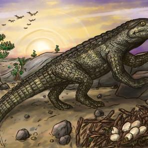 """21 - Saulo Daniel Ferreira Pontes """"A Vigília Da Mariliasuchus"""" (Pintura digital) Uma fêmea de Mariliasuchus vigia o ambiente enquanto seus filhotes dos ovos."""