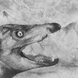 """14 - Breno Henrique Ávila Pereira """"Tupã"""" (Grafite esfumado) Um Gondwanasuchus scabrosus em meio à tempestade."""