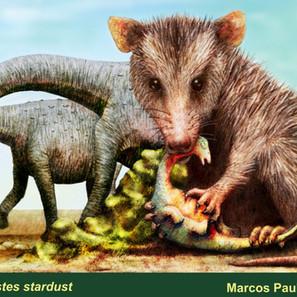 """29 - Marcos Paulo Pereira """"Brasilestes stardusti"""" (Técnica mista - Tradicional e digital) Perto de um ninho de Titanossauos, um Brasilestes acaba de garantir a refeição do dia."""
