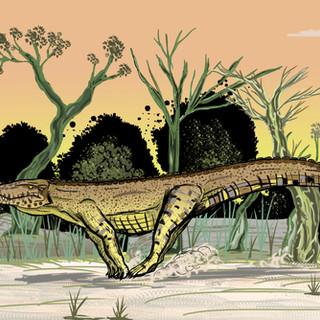"""28 - Iran de Souza Lima Júnior """"O galope do Baurusuchus"""" (Desenho e pintura em Photoshop) A ilustração consiste no crocodilomorfo """"Baurusuchus salgadoensis"""" galopando no final de uma tarde durante o período Cretáceo na região onde hoje está localizado o noroeste paulista."""
