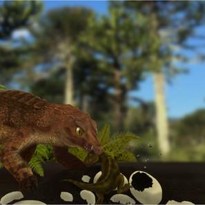 """25 - Danylo Sávio Torres Lopes """"Saqueador de ninhos"""" (Ilustração digital Artrage) Gondwanasuchus ataca ninho desprotegido de um Abelissaurídeo, matando o ultimo sobrevivente da ninhada"""