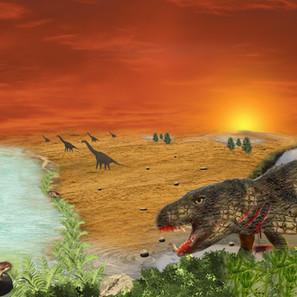 """23 - Leonardo Antonio Barnadas Angioletti """"Baurusuchus atacado por terópode"""" (Digital) Baurusuchus Albertoi atacado por um terópode. Caminhando até um ambiente lacustre, sangrando e pretes a morrer, posteriormente tornando-se um fóssil."""
