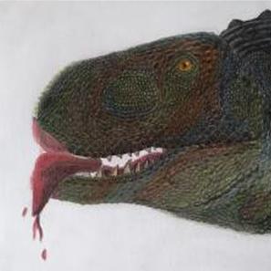 """16 - Lucas Ferreira de Almeida """"O alimento de um predador"""" (Esfuminho, esboço e escurecimento de desenho) Um abelissaurídeo se alimentando."""