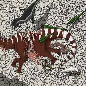"""06 - Lucas Gomes Ximenes Caminha """"Morte e vida Adamantina"""" (Photoshop) Durante a estação seca, um jovem Antarctosaurus não conseguiu acompanhar o seu bando e morreu de sede. Dentro de mais ou menos um dia, seu corpo já está no processo de ser devorado por carniceiros, entre eles, Montealtosuchus, Stratiosuchus, unenlagíneos e um abelissaurídeo."""
