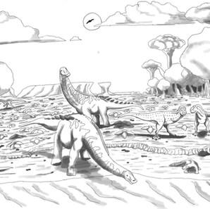 """15 - Gabriel Ribeiro Martins """"O Olho D'Água"""" (Desenho base no papel,escaneado e logo após sombreado digitalmente - usando o app Krita) Semelhante à Savana Africana,os animais estão sedentos por água na seca.Neste caso,dois """"Adamantisaurus mezzalirai"""" estão bebendo água,enquanto dois abelissaurídeos (baseados em Pycnonemosaurus e URC R 44) esperam a sua vez.Na margem,um Caipirasuchus volta a sua toca enquanto um noassaurídeo toma um banho de sol.Mais ao fundo,um Megaraptor indet. caminha na pradaria.Por último,um Aeolosaurus maximus se alimenta em meio a floresta densa."""