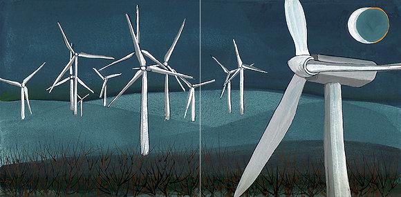 Wind Turbines by Night