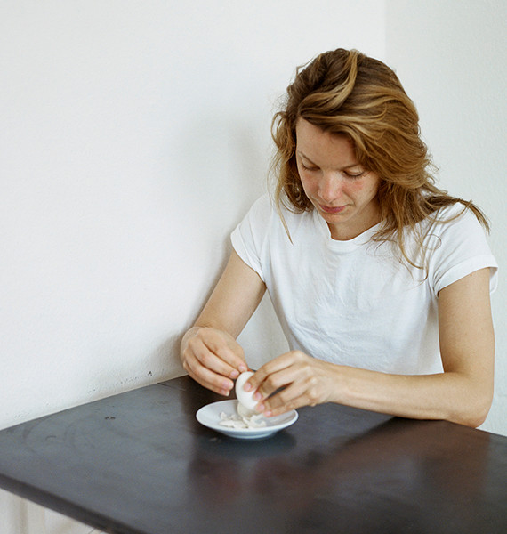 Valery is peeling an egg, 2017