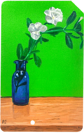 Small White Flower in a Blue Bottle