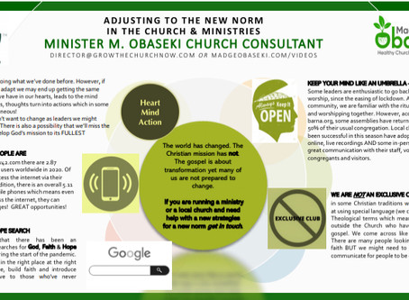 Adjusting To The New Norm In The Church and Ministries