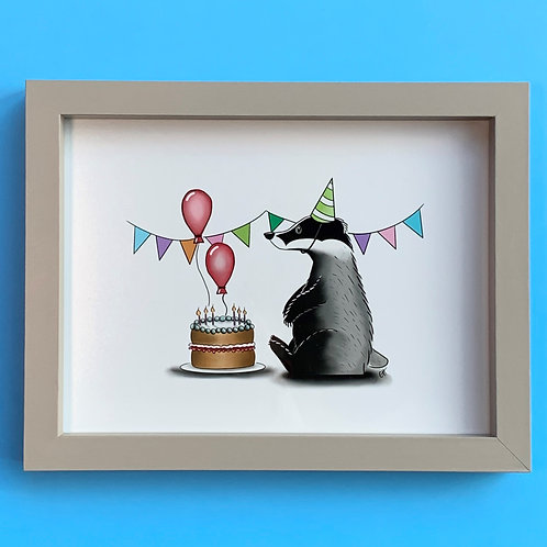 Birthday Badger Grey Box Frame Picture