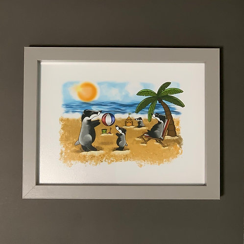 Beach Badger's Grey Box Frame Picture