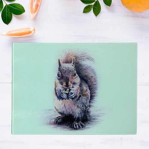 Sidney Squirrel Glass Chopping Board