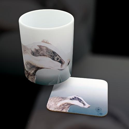 Dandelion Badger Mug & Coaster Set