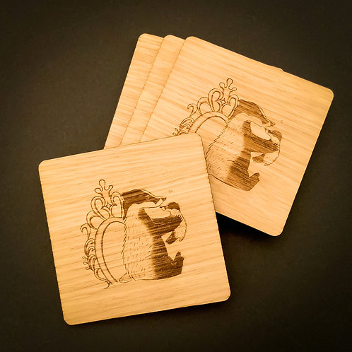 Love Cub Wooden Drinks Coasters