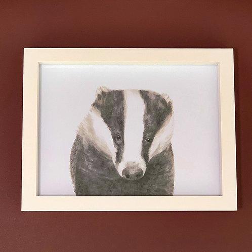 Mr Lumpy Watercolour White Box Frame Print