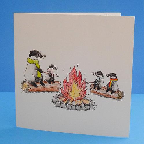 Badger Camp Fire Card