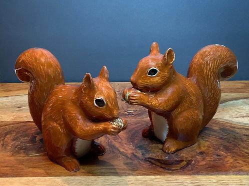Quail Ceramic Pair of Squirrel Figures