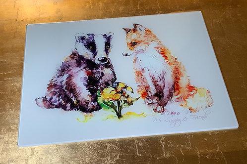 Let's Bee Friends Glass Chopping Board