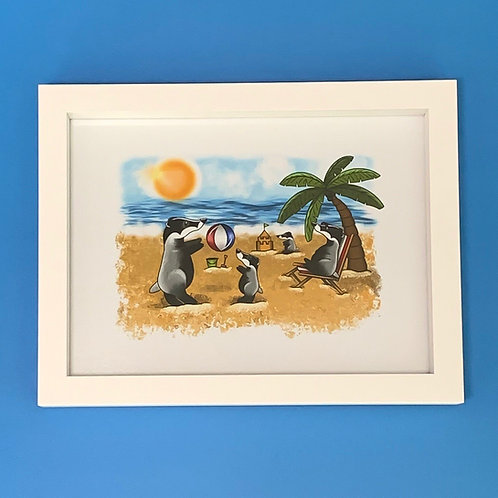 Beach Badger White Box Frame Print