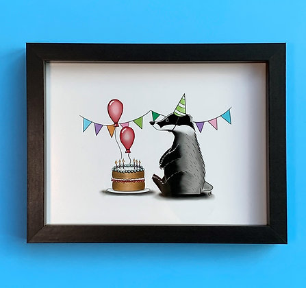 Birthday Badger Black Box Frame Picture