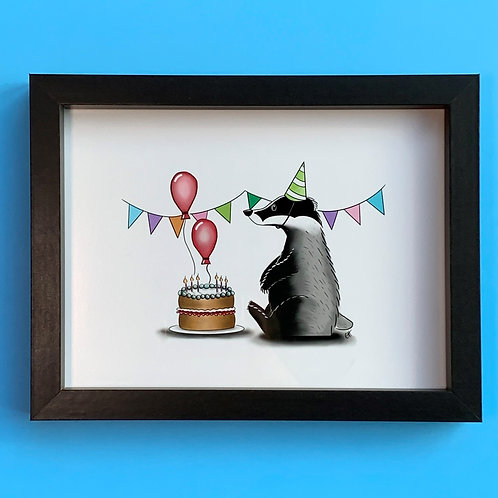 Birthday Badger Black Box Frame Picture