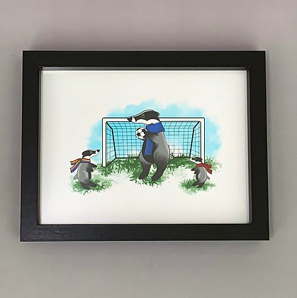 Sporty Badger's Black Box Frame Print