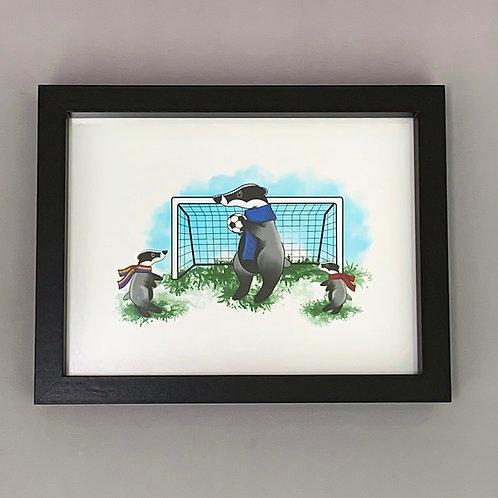 Sporty Badger's Black Box Frame Print