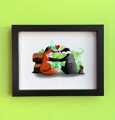Woodland Friends Black Box Frame Picture