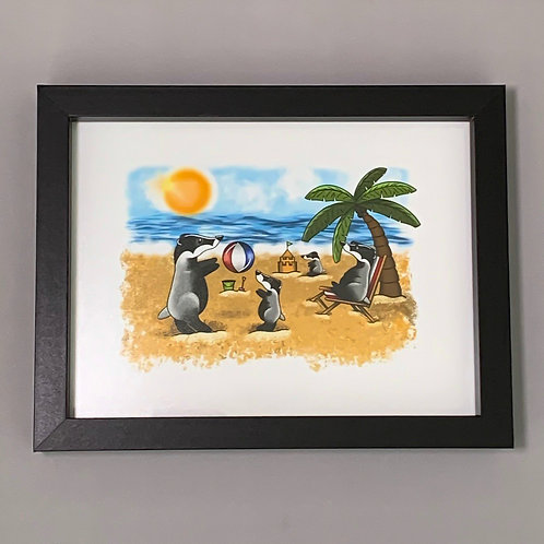Beach Badger's Black Box Frame Print