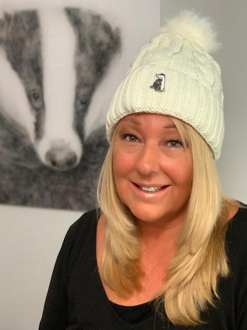 Ivory Winter Woolly Bobble Hat