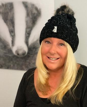 Black Winter Woolly Bobble Hat
